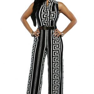 Black Print Gold Belted Jumpsuit Size:(US 8-10)M