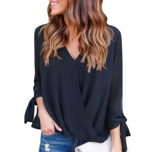 Black-Womens-V-Neck-Ruched-Tie-Sleeve-Top