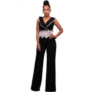 Contrast Lace Waist Insert Wide Leg Jumpsuit – Black