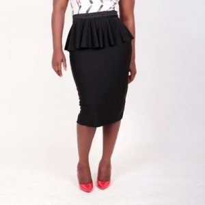 Full Flared Peplum Skirt – Black