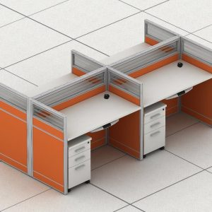 Office Workstation for 4 Persons with Mobile Cabinets