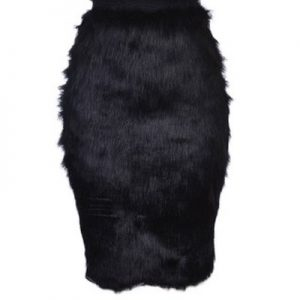 Fur Midi Skirt – Black