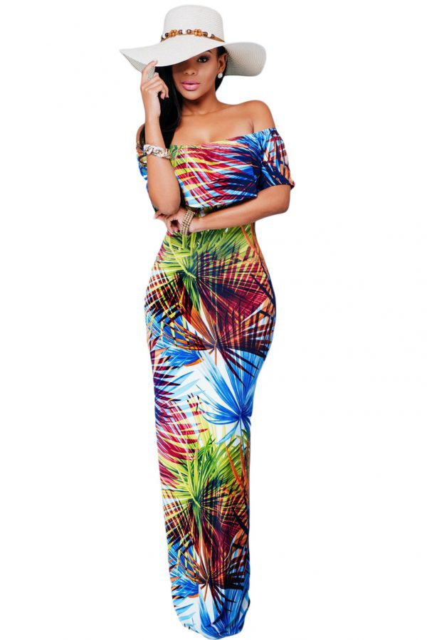 Tropical Print Off-the-shoulder Maxi Dress Material : 95%polyester+5%spandex Size:(US 12-14)L