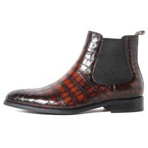 luxury alligator mens shoes crocodile skin half boot man genuine leather