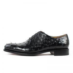 black ostrich skin Italian natural leather dress shoes men