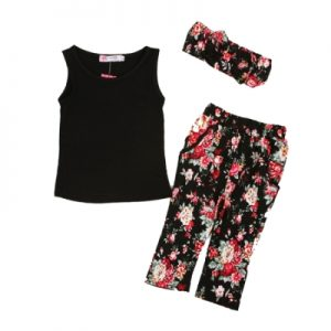 Summer Fashion New Product Girls Clothing Three Piece, T-shirt + Printed Pants + Scarf, Size: 80(Black)