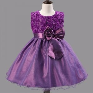 Girl Kids Rose Bow-tie Ball Gown Bridesmaid Party Wedding Pageant Tulle Dress Purple, Size: 160cm