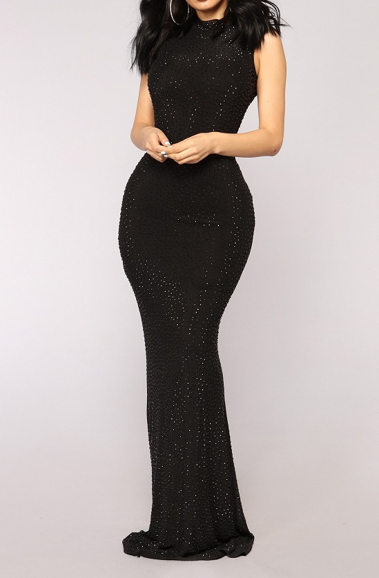 Sleeveless Beaded Mermaid Evening Dress
